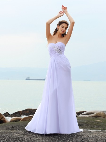 Sheath/Column Beading Sweetheart Chiffon Chapel Train Sleeveless Wedding Dresses