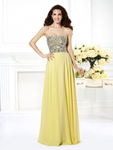 A-Line/Princess Chiffon Strapless Sleeveless Floor-Length Beading Dresses