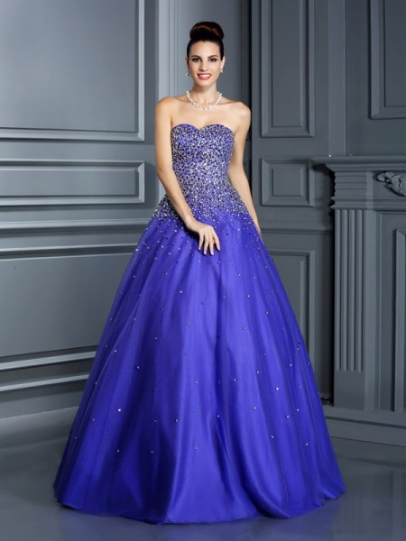 Ball Gown Net Sweetheart Beading Floor-Length Sleeveless Dresses