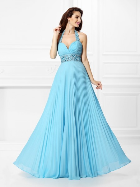 A-Line/Princess Chiffon Rhinestone Halter Sleeveless Floor-Length Dresses