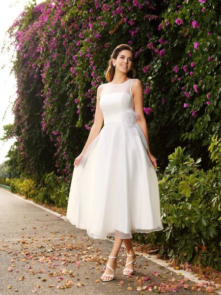 A-Line/Princess Satin Sash/Ribbon/Belt Bateau Ankle-Length Sleeveless Wedding Dresses