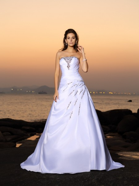 A-Line/Princess Satin Strapless Sleeveless Beading Chapel Train Wedding Dresses