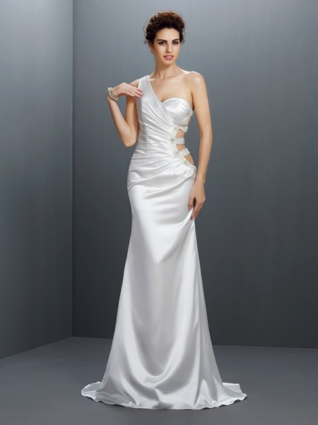 Trumpet/Mermaid Elastic Woven Satin One-Shoulder Sleeveless Beading Sweep/Brush Train Dresses