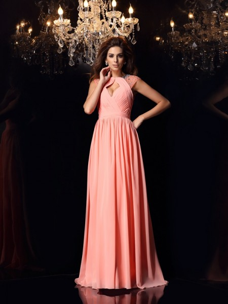 A-Line/Princess Chiffon Scoop Sleeveless Sweep/Brush Train Dresses