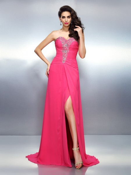 A-Line/Princess Chiffon Sweetheart Beading Sweep/Brush Train Sleeveless Dresses
