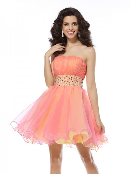 A-Line/Princess Organza Strapless Sleeveless Beading Short/Mini Dresses