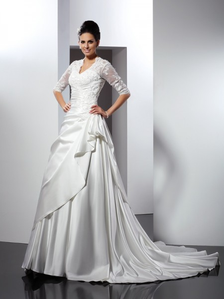 A-Line/Princess Satin Applique V-neck 1/2 Sleeves Chapel Train Wedding Dresses