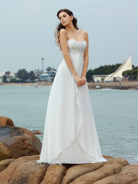 A-Line/Princess Chiffon Sweetheart Sleeveless Floor-Length Beading Wedding Dresses