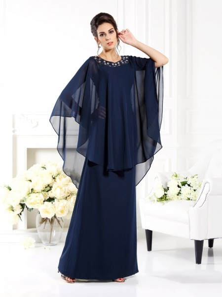 A-Line/Princess Chiffon Scoop Floor-Length 3/4 Sleeves Mother of the Bride Dresses
