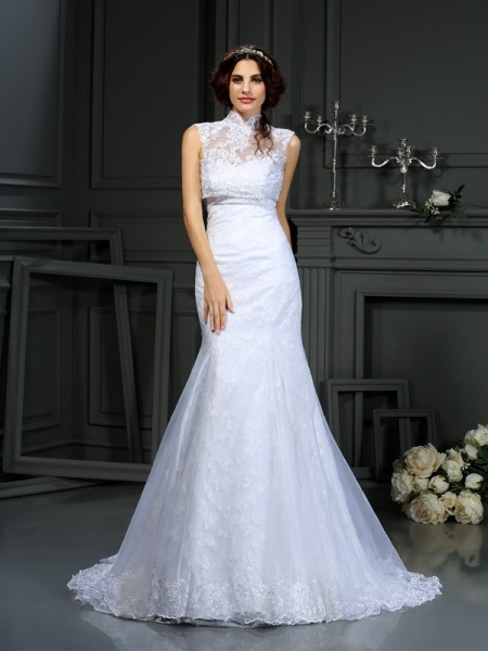 Trumpet/Mermaid Satin Sweetheart Lace Court Train Sleeveless Wedding Dresses