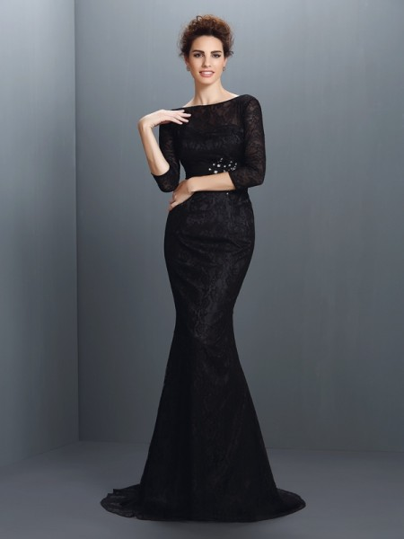 Trumpet/Mermaid Elastic Woven Satin Bateau 3/4 Sleeves Lace Sweep/Brush Train Mother of the Bride Dresses