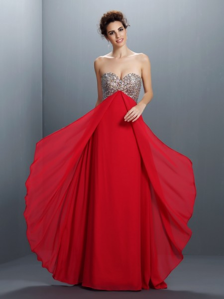 A-Line/Princess Chiffon Sweetheart Sleeveless Floor-Length Dresses
