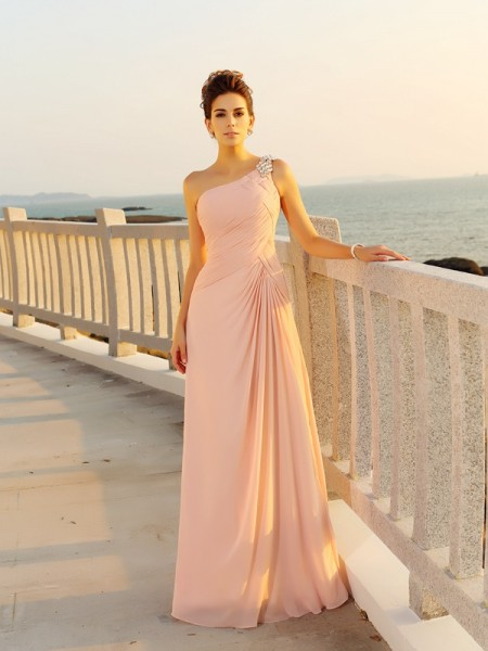 A-Line/Princess One-Shoulder Sleeveless Beading Chiffon Floor-Length Dresses