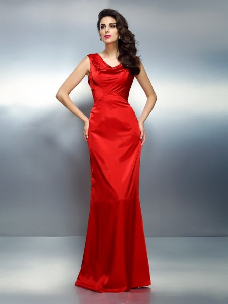 Trumpet/Mermaid Silk like Satin V-neck Sleeveless Floor-Length Dresses