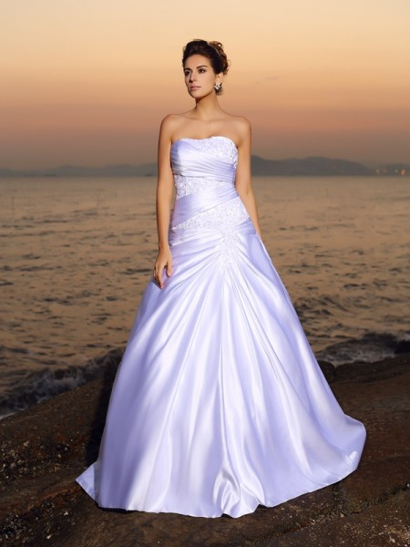 Ball Gown Satin Strapless Sleeveless Court Train Wedding Dresses