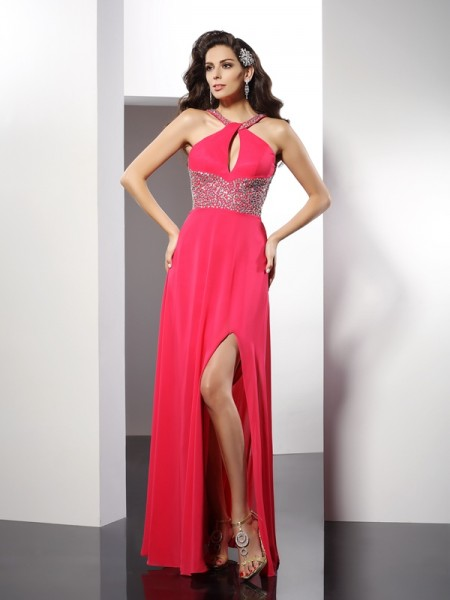 A-Line/Princess Scoop Chiffon Sleeveless Beading Floor-Length Dresses
