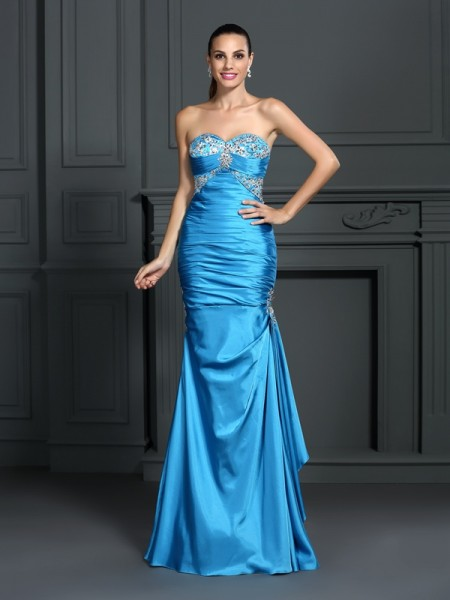 Trumpet/Mermaid Elastic Woven Satin Sweetheart Beading Floor-Length Sleeveless Dresses