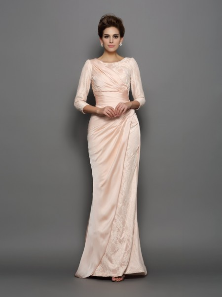 Trumpet/Mermaid Chiffon Bateau 3/4 Sleeves Lace Sweep/Brush Train Mother of the Bride Dresses
