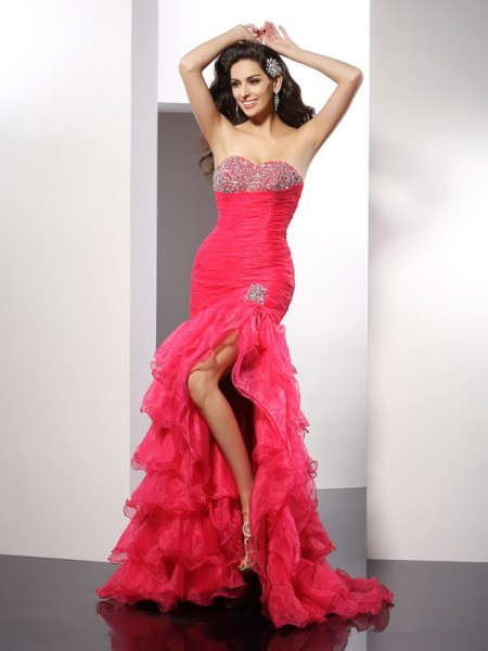 Sheath/Column Organza Sweetheart Sleeveless Beading Floor-Length Dresses