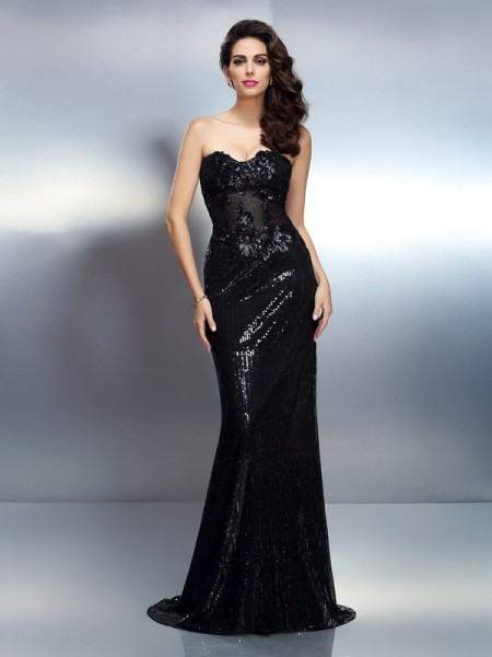 Trumpet/Mermaid Sweetheart Lace Sleeveless Sweep/Brush Train Applique Dresses