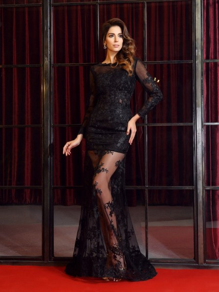 Trumpet/Mermaid Bateau Lace Applique Long Sleeves Sweep/Brush Train Sweep/Brush Train Dresses