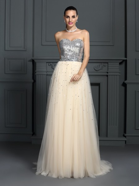 A-Line/Princess Sweetheart Lace Beading Sleeveless Floor-Length Dresses