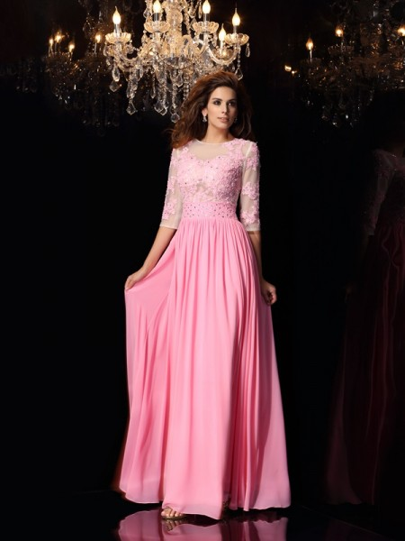 A-Line/Princess Scoop Silk like Satin Applique Floor-Length 1/2 Sleeves Dresses