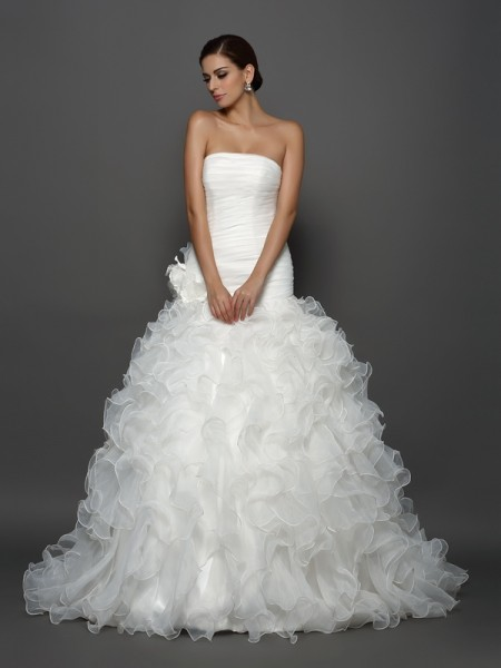 Ball Gown Organza Hand-Made Flower Strapless Sleeveless Cathedral Train Wedding Dresses