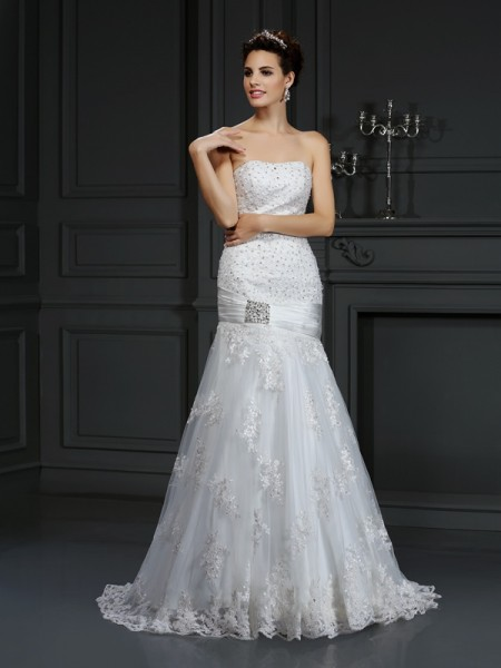 Sheath/Column Satin Applique Strapless Sleeveless Court Train Wedding Dresses