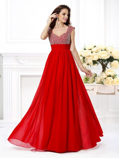 A-Line/Princess Chiffon Beading Straps Sleeveless Floor-Length Dresses