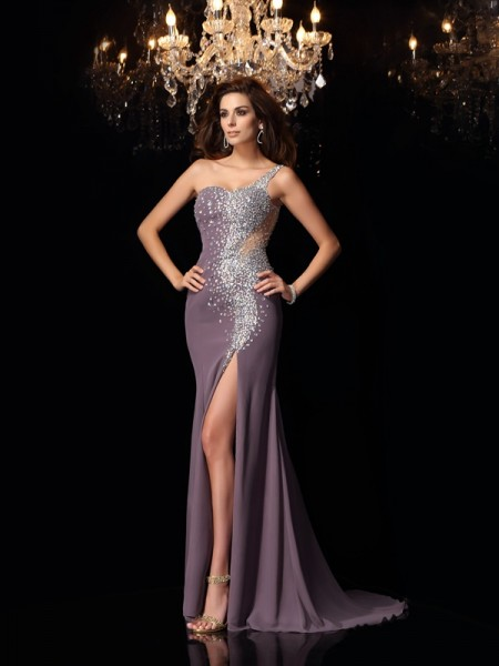 Trumpet/Mermaid Chiffon One-Shoulder Sleeveless Rhinestone Sweep/Brush Train Dresses