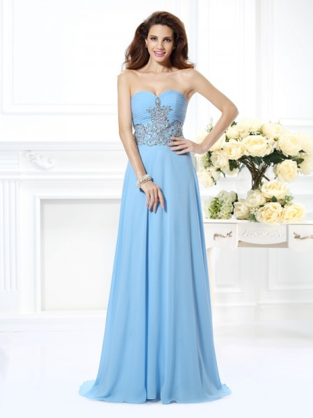 A-Line/Princess Sweetheart Sweep/Brush Train Beading Chiffon Sleeveless Dresses