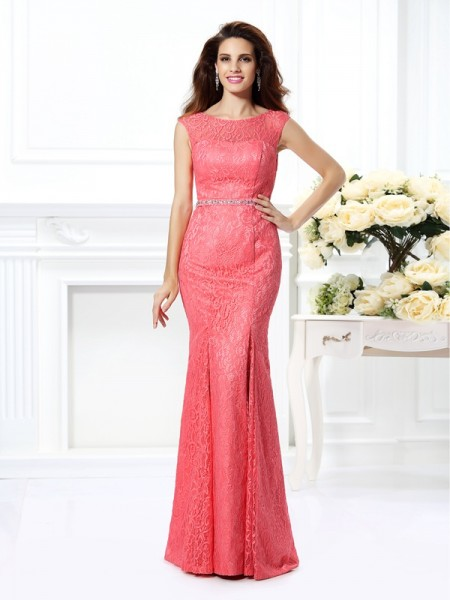 Trumpet/Mermaid Lace Bateau Sleeveless Floor-Length Dresses