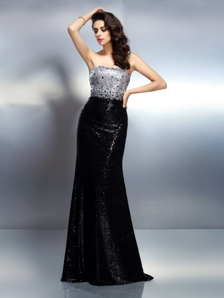 Trumpet/Mermaid Sequins Strapless Sleeveless Sequin Sweep/Brush Train Dresses