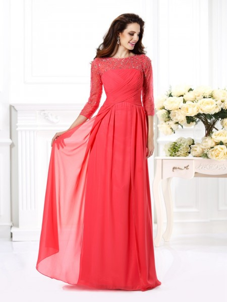 A-Line/Princess Chiffon Scoop 3/4 Sleeves Beading Floor-Length Dresses