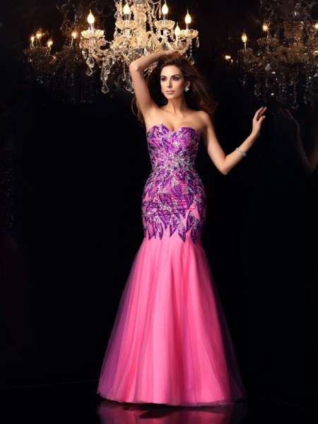 Trumpet/Mermaid Net Sweetheart Sleeveless Beading Floor-Length Dresses
