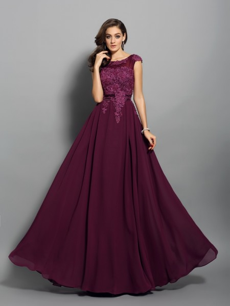 A-Line/Princess Chiffon Scoop Sleeveless Floor-Length Applique Dresses