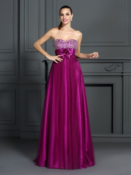 A-Line/Princess Elastic Woven Satin Sweetheart Sleeveless Hand-Made Flower Floor-Length Dresses