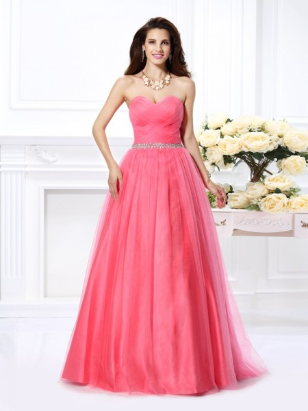 Ball Gown Satin Sweetheart Sleeveless Floor-Length Dresses