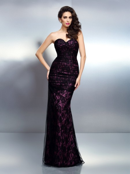 Trumpet/Mermaid Elastic Woven Satin Sweetheart Sleeveless Lace Floor-Length Dresses