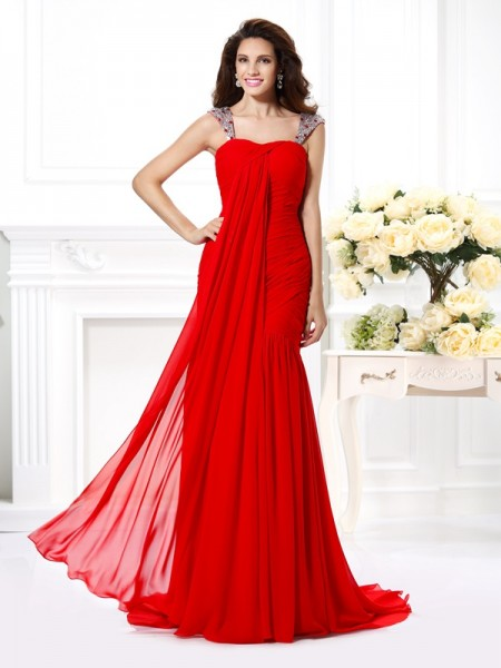 Trumpet/Mermaid Straps Chiffon Beading Sweep/Brush Train Sleeveless Dresses