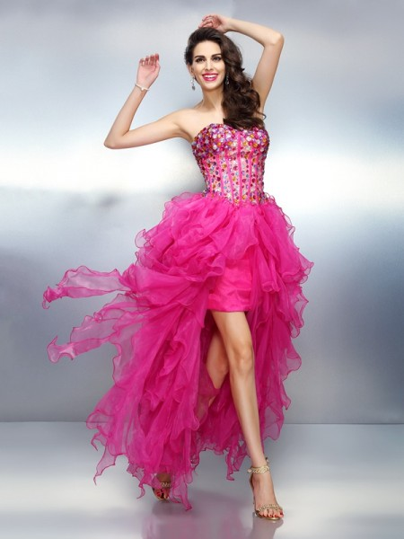 A-Line/Princess Organza Sweetheart Sleeveless Rhinestone Asymmetrical Dresses