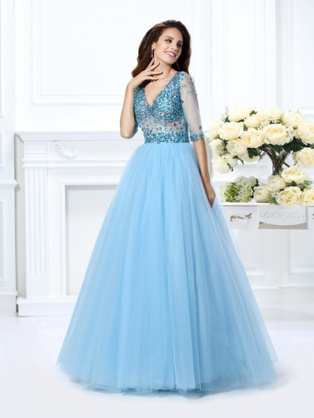 Ball Gown Satin V-neck 1/2 Sleeves Beading Floor-Length Dresses