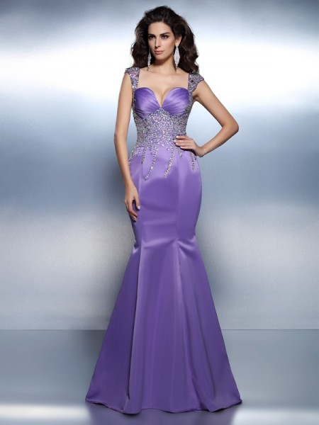 Trumpet/Mermaid Satin Sweetheart Beading Sweep/Brush Train Sleeveless Dresses