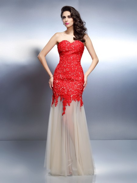 A-Line/Princess Net Sweetheart Sleeveless Applique Floor-Length Dresses