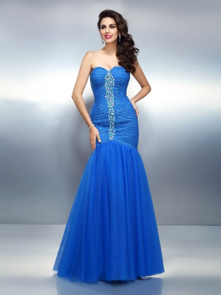 Trumpet/Mermaid Satin Sweetheart Sleeveless Floor-Length Rhinestone Dresses