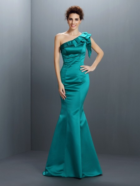 Trumpet/Mermaid Satin One-Shoulder Sleeveless Floor-Length Dresses
