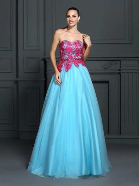 Ball Gown Satin Sweetheart Lace Floor-Length Sleeveless Dresses