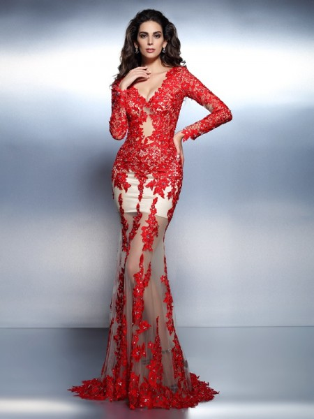 Trumpet/Mermaid Lace Applique V-neck Long Sleeves Sweep/Brush Train Dresses