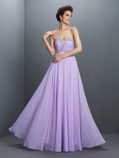 A-Line/Princess Chiffon Beading Sweetheart Sleeveless Floor-Length Dresses